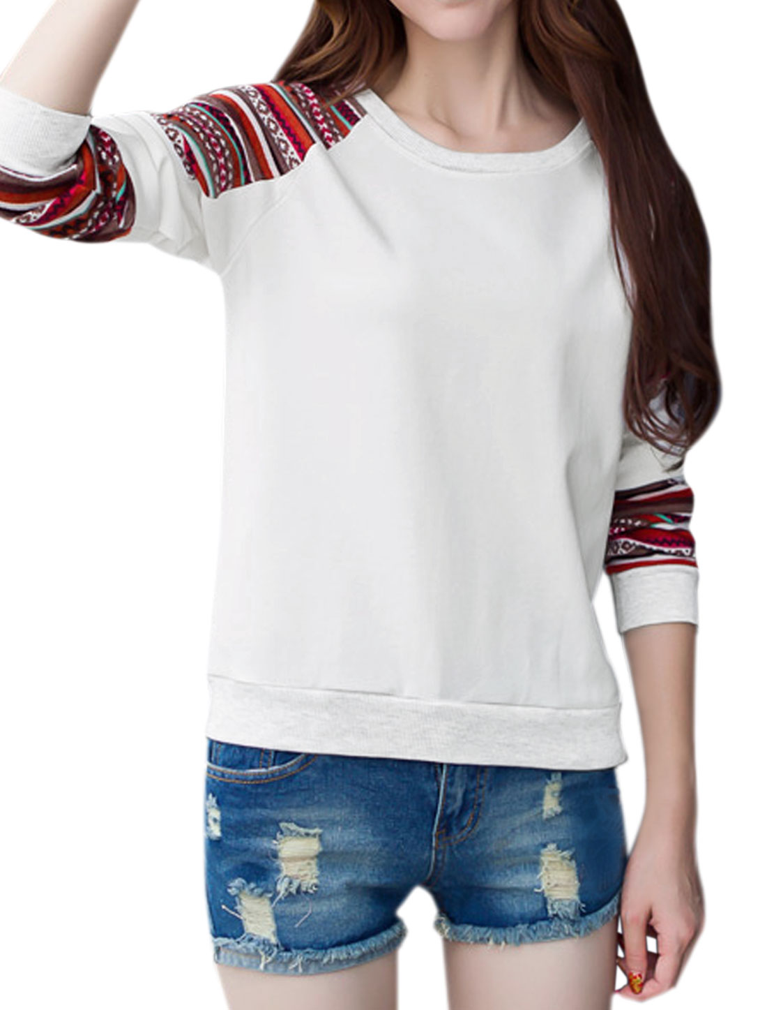 Women Geometric Striped Pattern Raglan Sleeves Paneled Sweatshirt White M
