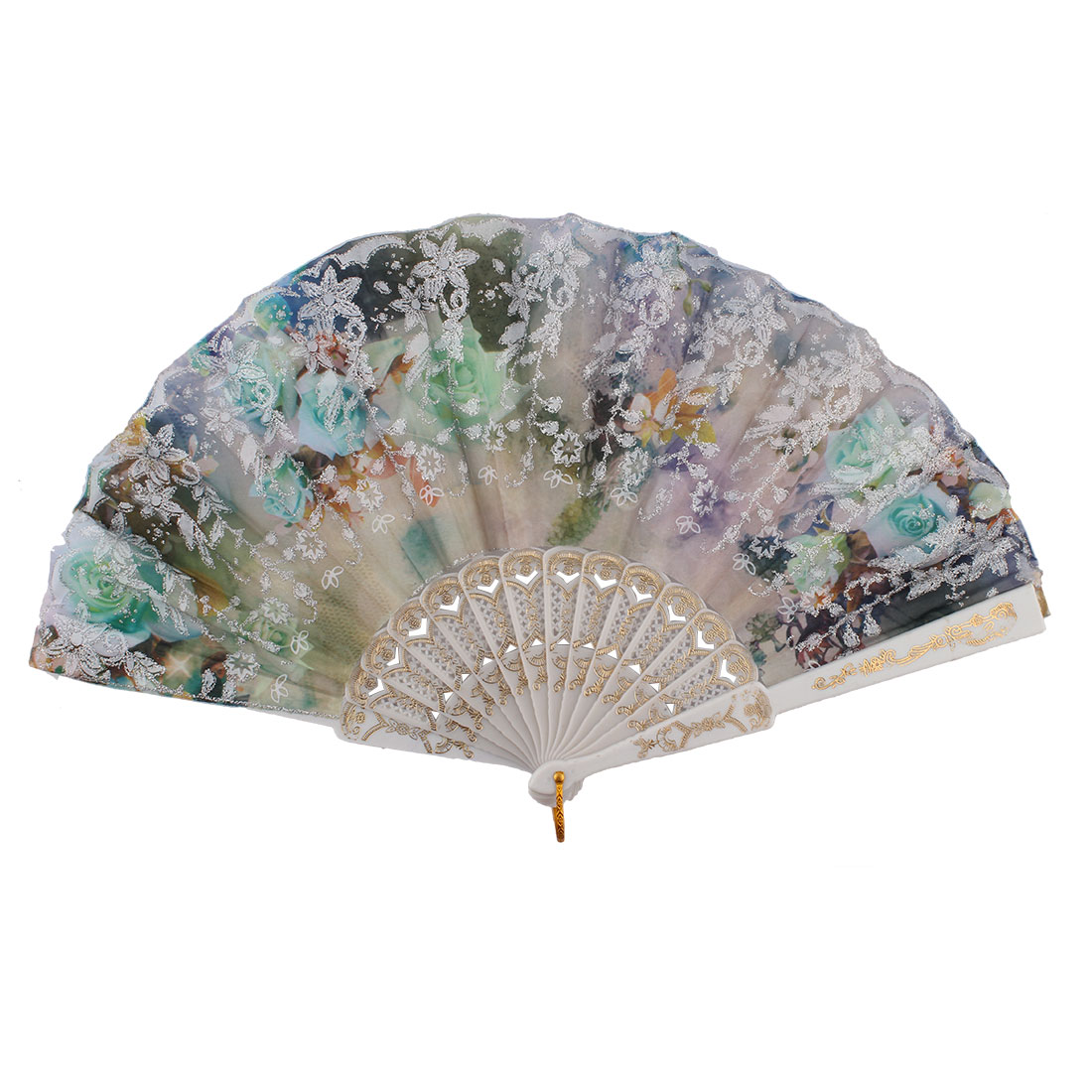 Chinese Style Ladies Colorful Flower Pattern Decor Plastic Ribs Frame Summer Folding Hand Fan