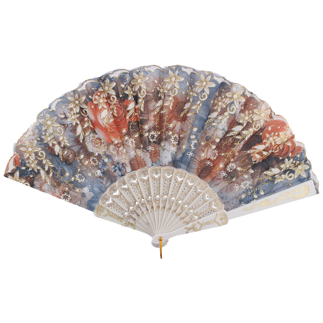 Chinese Style Ladies Colorful Flower Pattern Decor Plastic Frame Nylon Fabric Folding Hand Fan