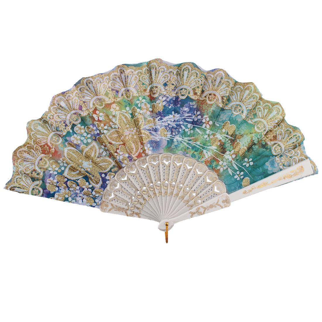 Chinese Style Wedding Party Glitter Flower Decor Plastic Ribs Frame Folding Hand Fan