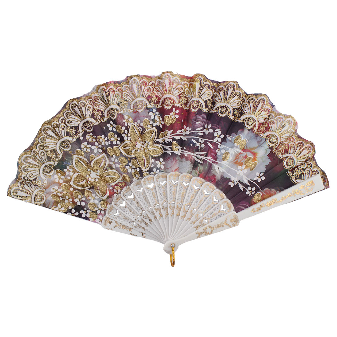 Chinese Style Wedding Party Glitter Flower Decor Plastic Frame Nylon Fabric Folding Hand Fan
