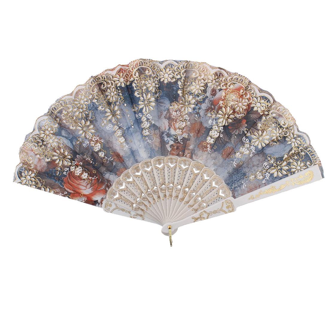 Chinese Style Wedding Party Glitter Flower Decor Plastic Frame Summer Folding Hand Fan