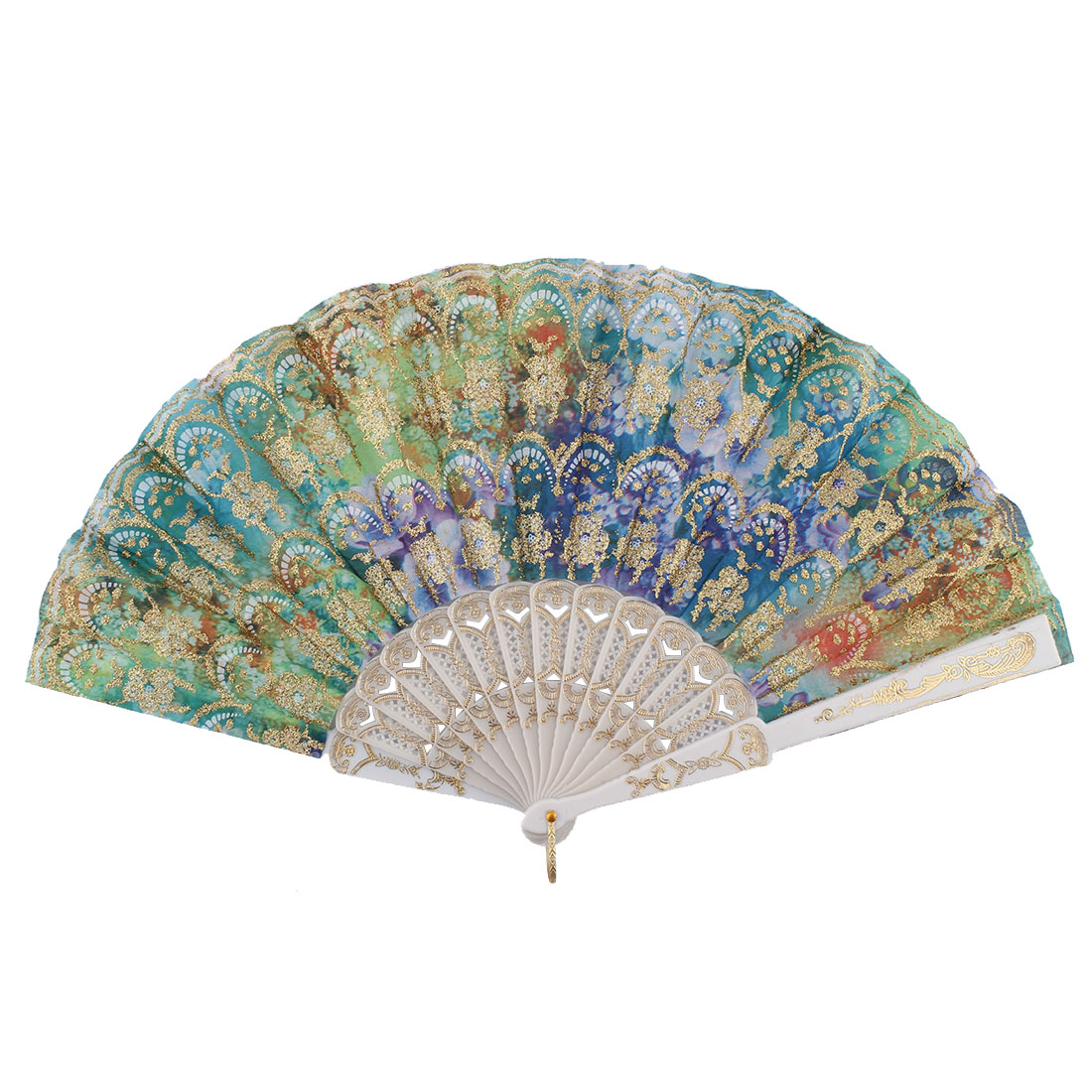 Chinese Style Ladies Colorful Flower Pattern Plastic Ribs Frame Summer Folding Hand Fan