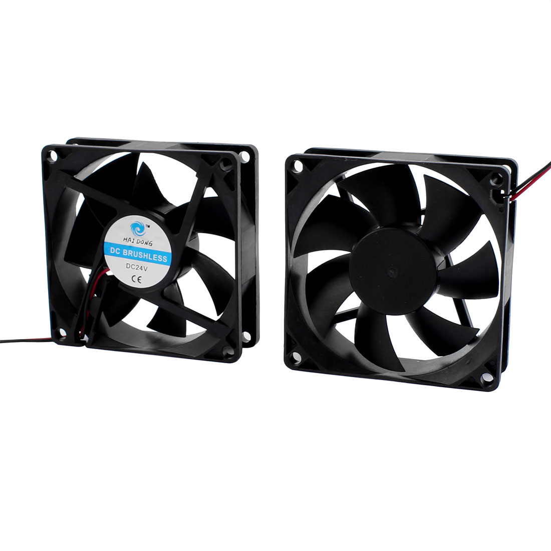 2 Pcs DC 24V 80 x 80 x 25mm Brushless 9 Vanes Cooling Cooler Case Fan