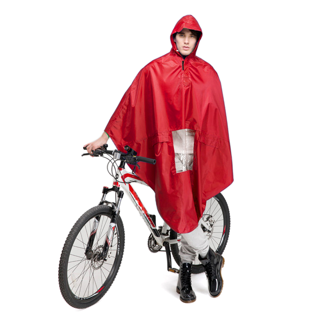 Red Adult Bike Bicycle Motorcycle Outdoor Riding Clothes Raincoat Coat Rain
