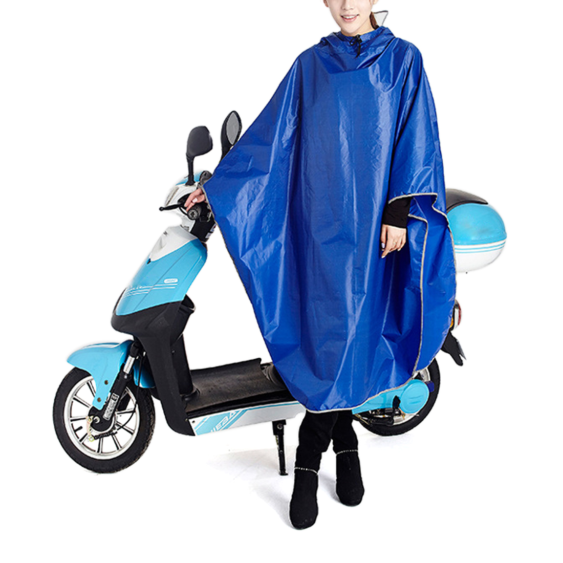 Blue Adult Poncho Cycling Raincoat Bicycle Hooded Waterproof Rain Coat Cover
