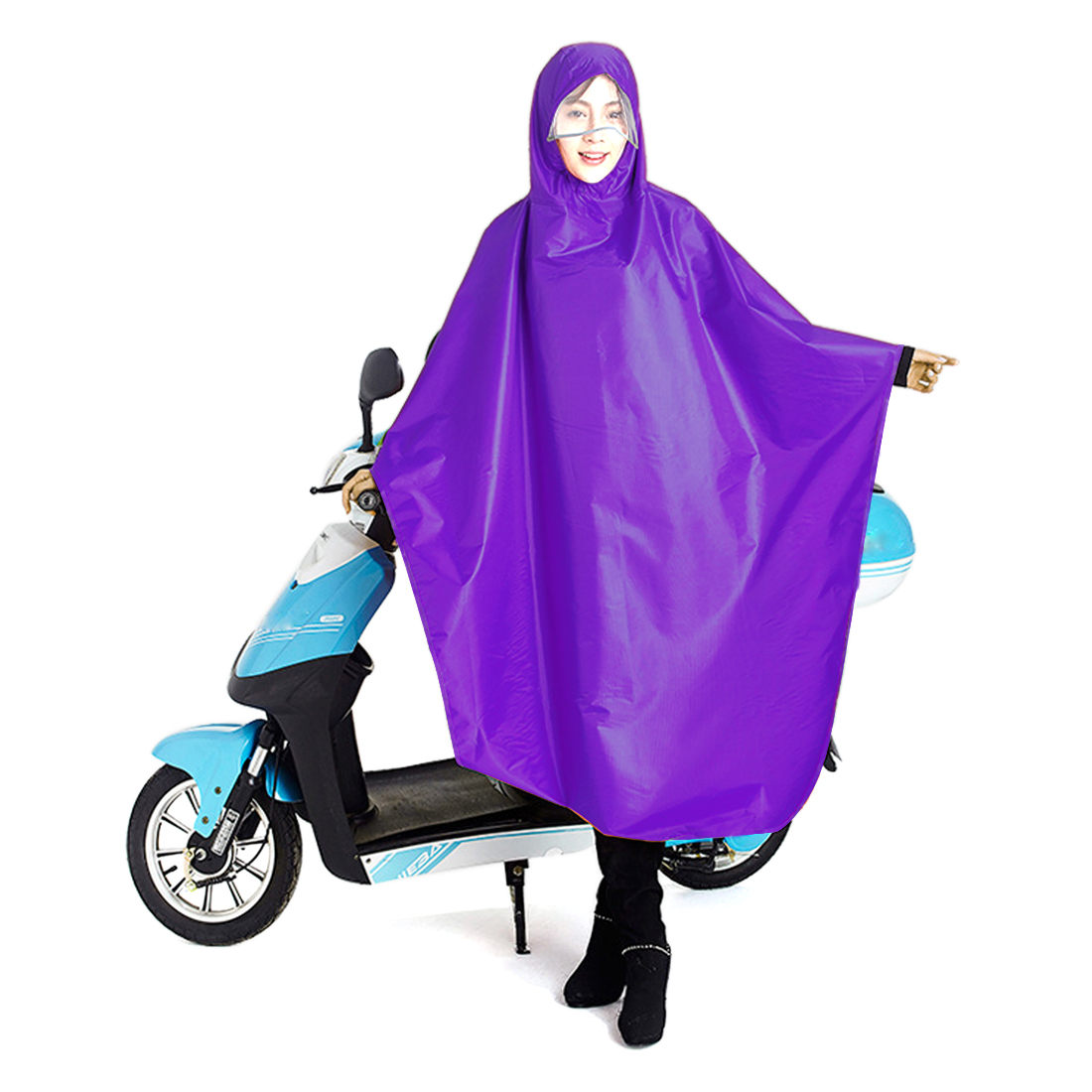 Purple Adult Poncho Cycling Raincoat Bicycle Hooded Waterproof Rain Coat Cover