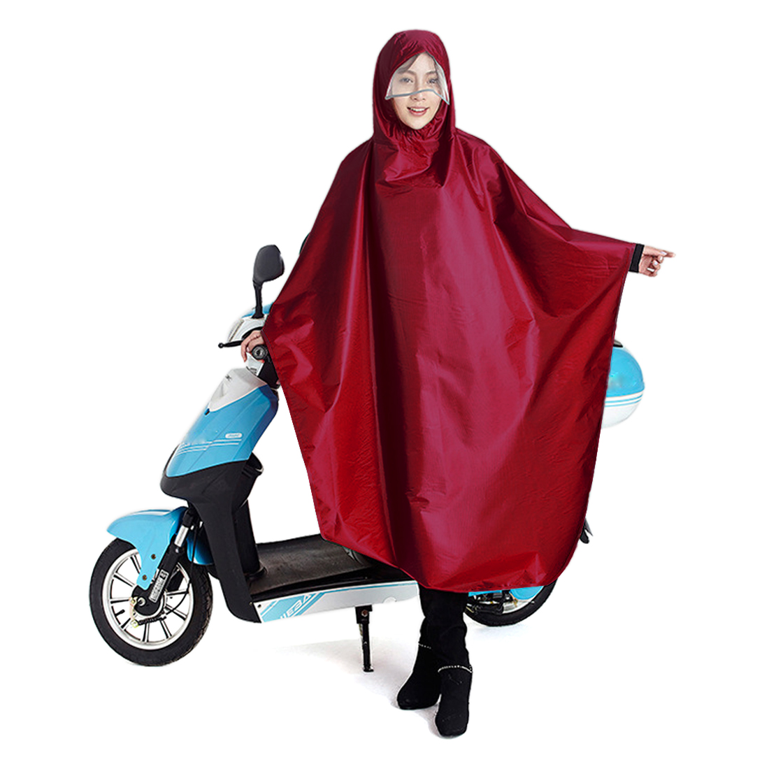 Dark Red Adult Poncho Cycling Raincoat Bicycle Hooded Waterproof Rain Coat Cover