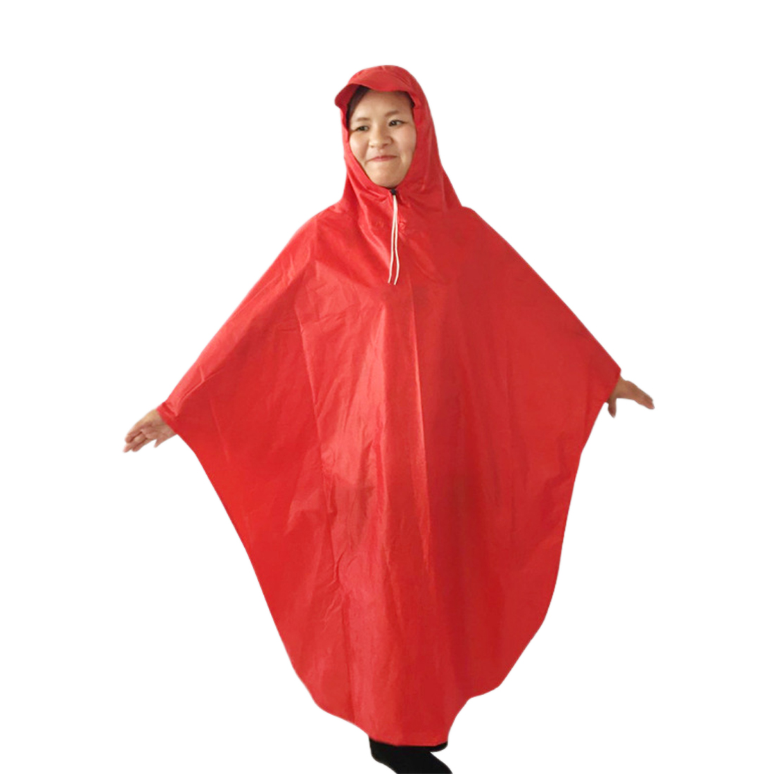 Red Adult Motorcycle Bicycle Bike Rain Coat Hooded Rain Poncho With Snaps
