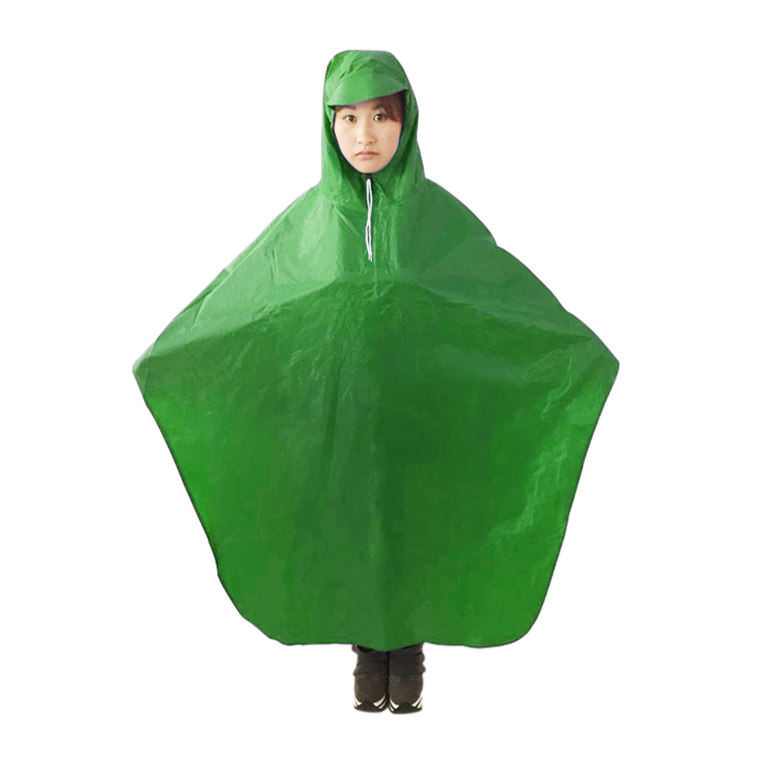 Green Adult Motorcycle Bicycle Bike Rain Coat Hooded Rain Poncho With Snaps