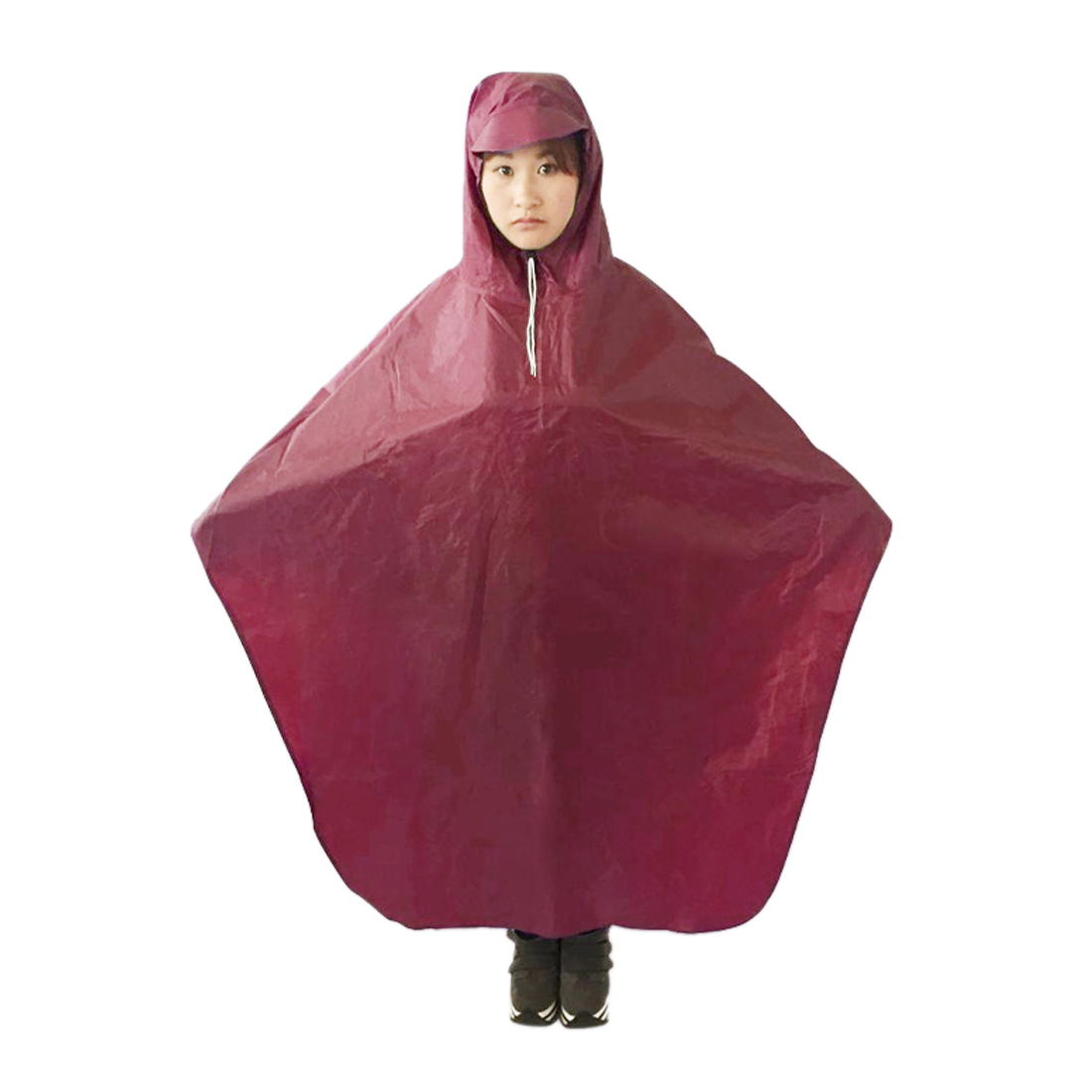 Dark Red Adult Motorcycle Bicycle Bike Rain Coat Hooded Rain Poncho With Snaps