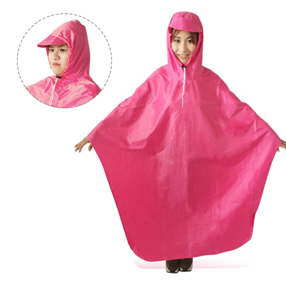 Pink Adult Motorcycle Bicycle Bike Rain Coat Hooded Rain Poncho With Snaps