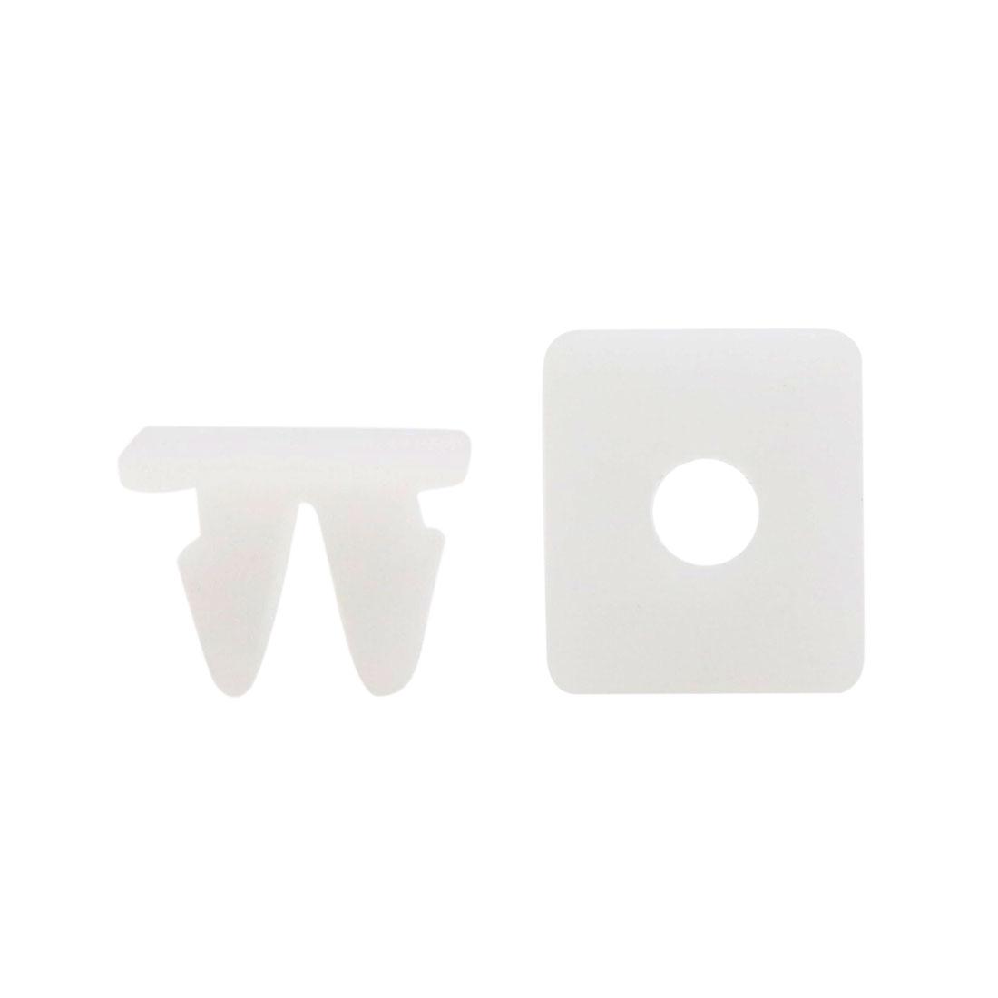 20 Pcs White Plastic Rivet Trim Fastener Moulding Clips for 10mm x 10mm Dia Hole