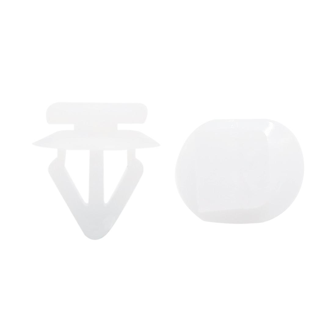 20Pcs 13mm Hole Plastic Rivets Fastener Push Type Clips White for Auto Car
