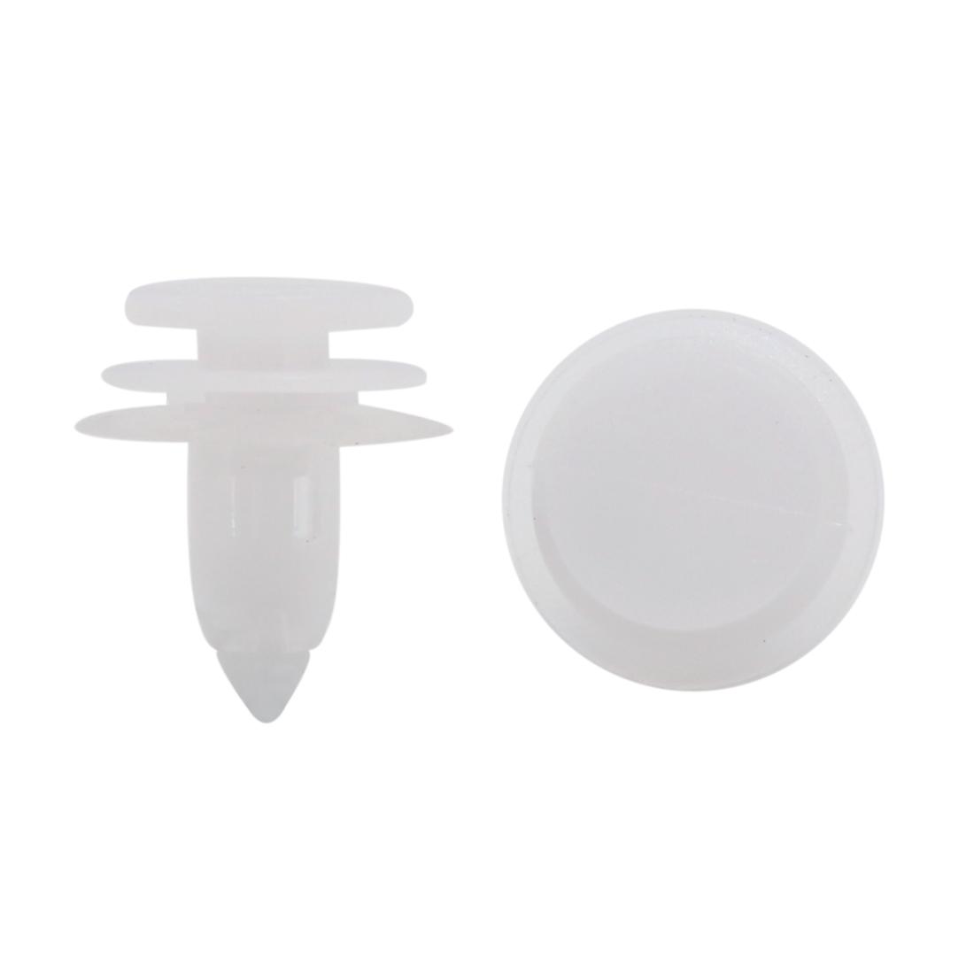 8mm Hole 18mm Head Auto Car Plastic Rivets Trim Fastener Clips White 20 Pcs
