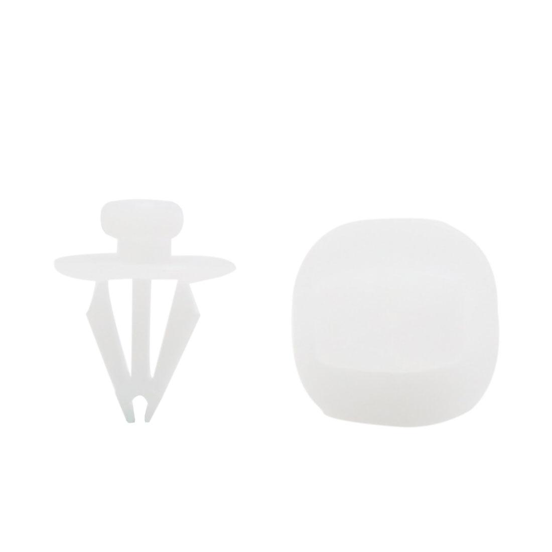 40pcs 9.5mm Hole White Plastic Rivet Fastener Car Door Trim Panel Retainer Clip