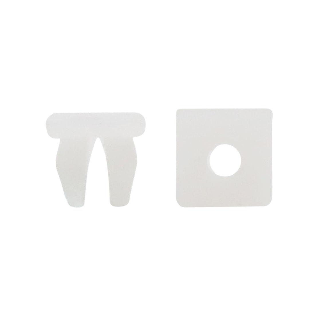 100 Pcs White Auto Door Plastic Rivet Fastener Retainer Clip for 9mmx 8mm Hole