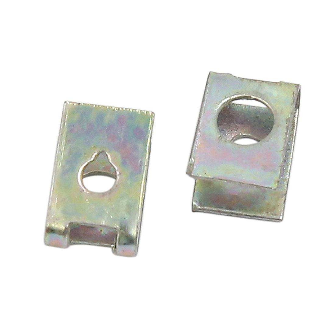 100 Pcs 5mm Hole Spring Metal Auto Car Door Pannel Spire Screw U-Type Trim Clips