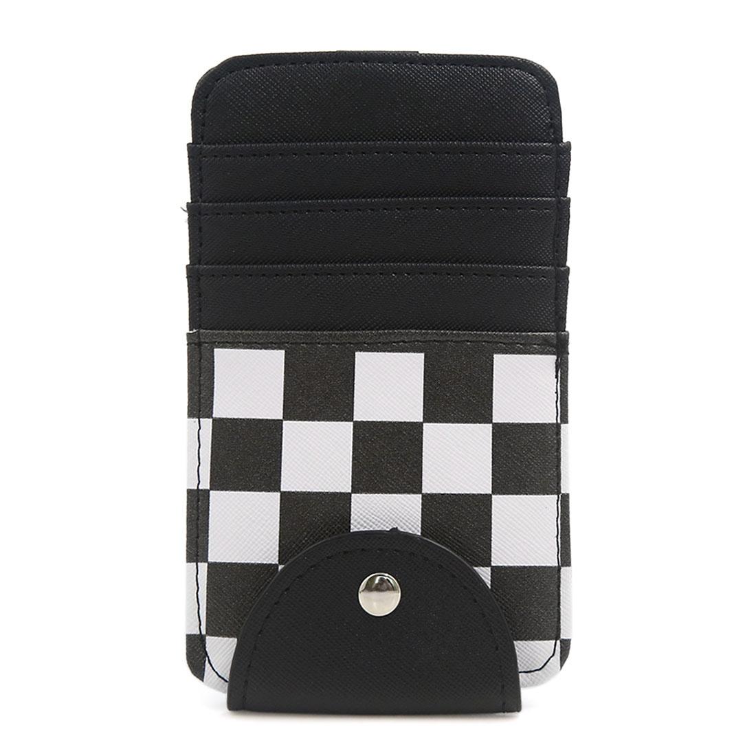 Universal Black White Lattice Pattern Car Sun Visor Card Clip Storage Pocket Bag