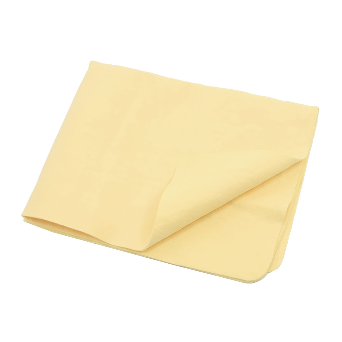 42.5 x 31.8cm Yellow Faux Chamois Leather Cleaning Cloth Hair Drying Towel