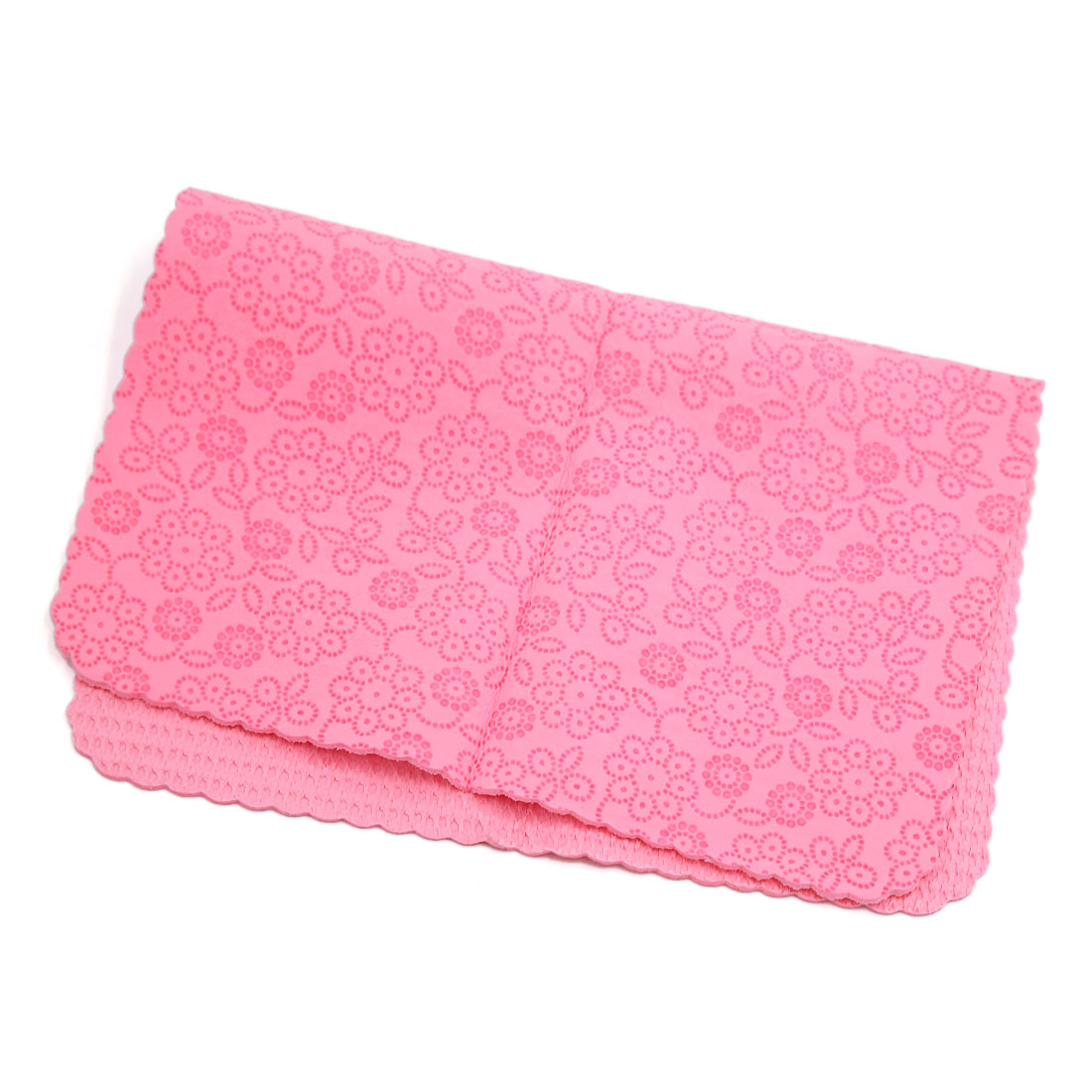 43 x 32.1cm Pink Faux Chamois Leather Carved Cleaning Cloth Hair Drying Towel