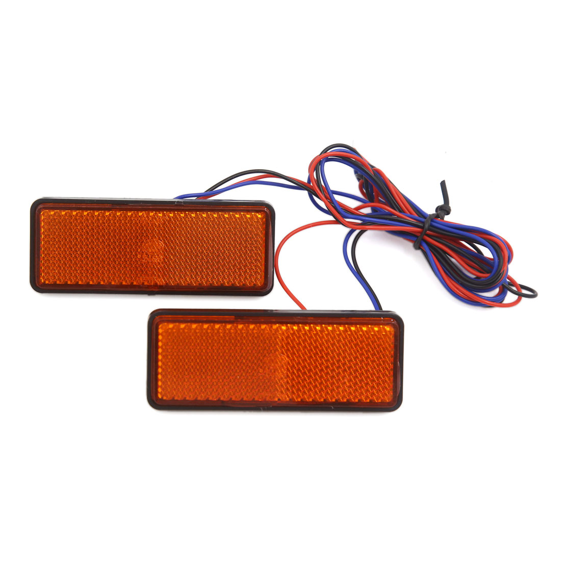 2 Pcs Universal Yellow Rectangle LED Reflector Turn Signal Tail Brake Light