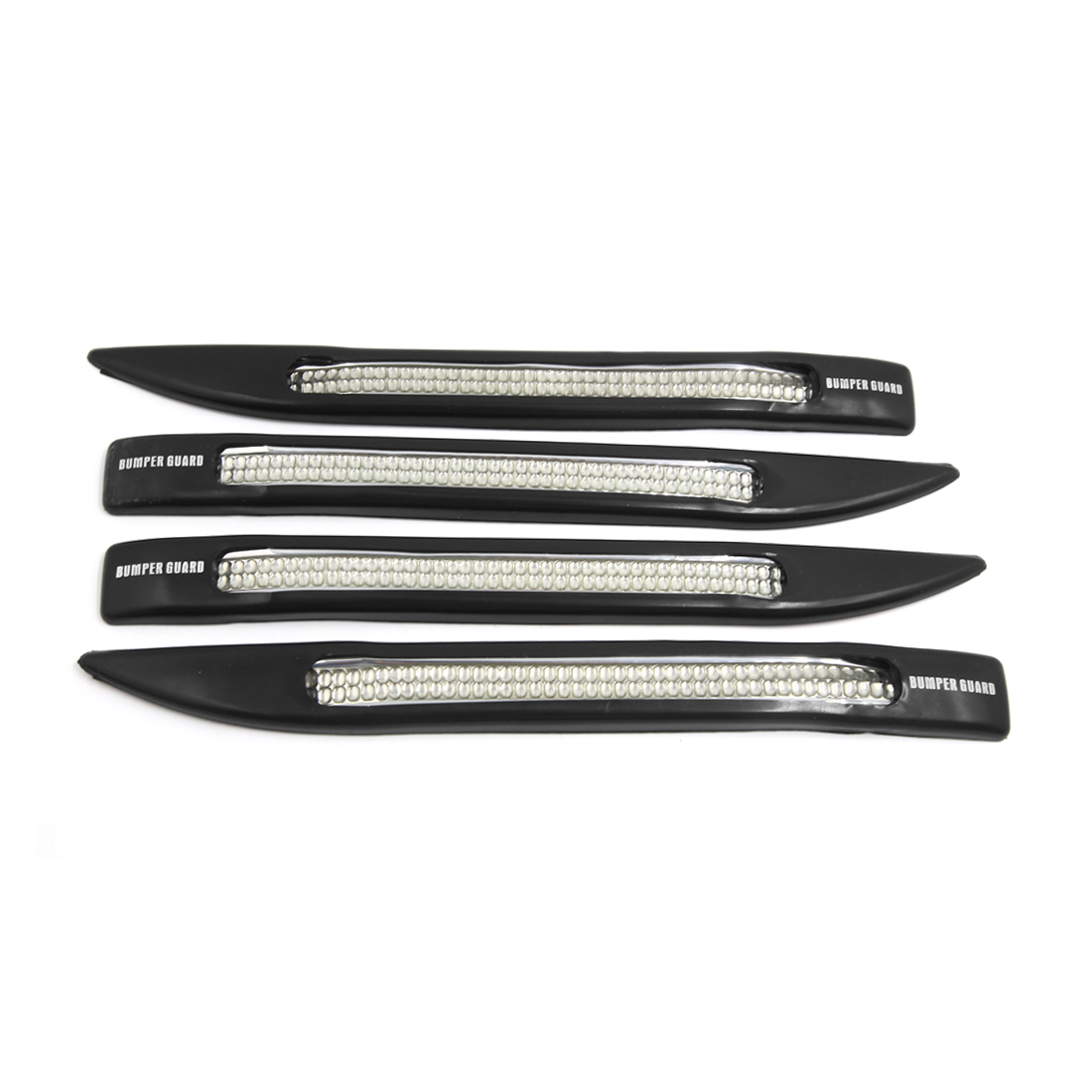 4 Pcs Black Silver Tone Universal Soft Plastic Car Bumper Guard Rubber Protector