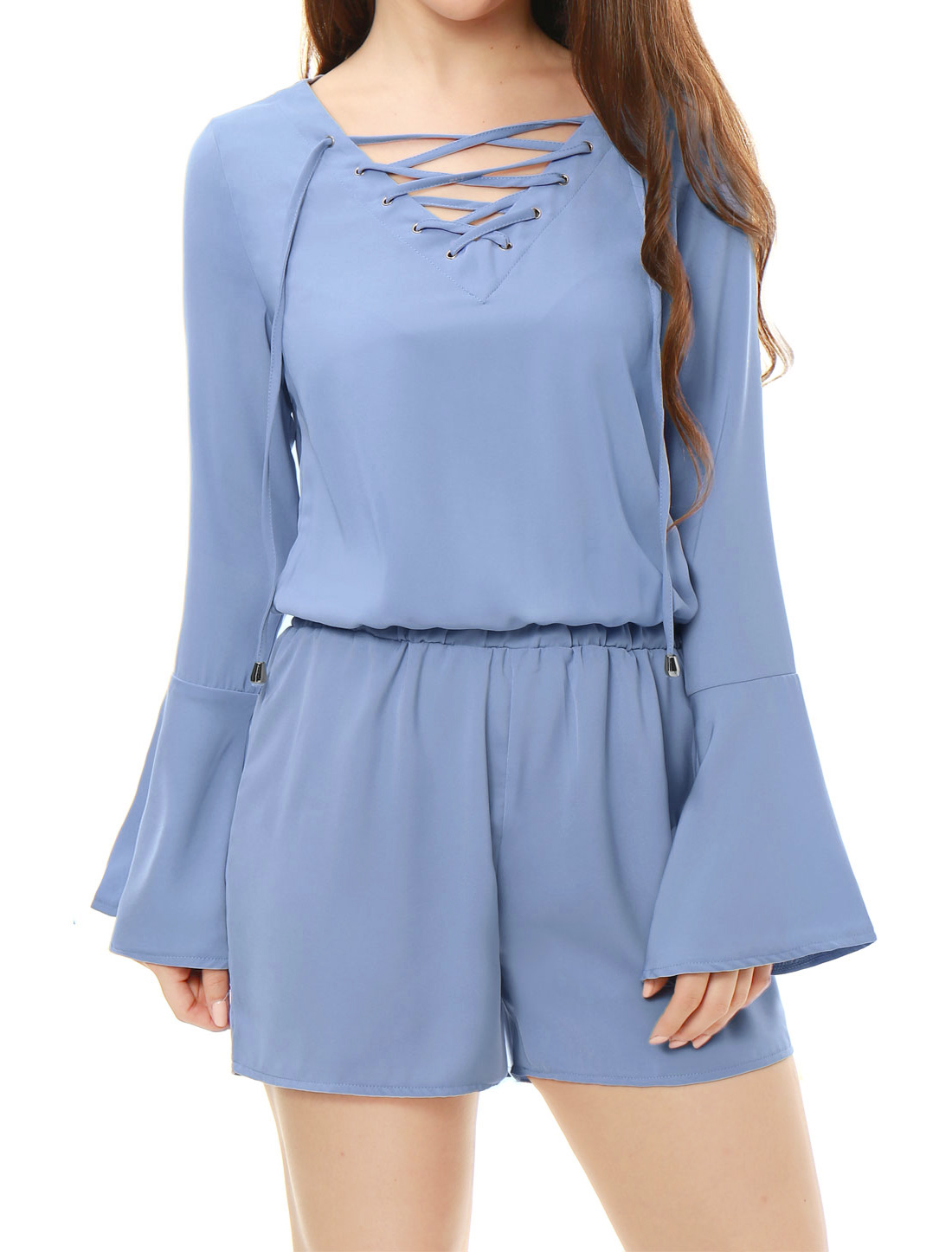 Women Flare Sleeves Crossover Back Lace Up Playsuit Blue XS