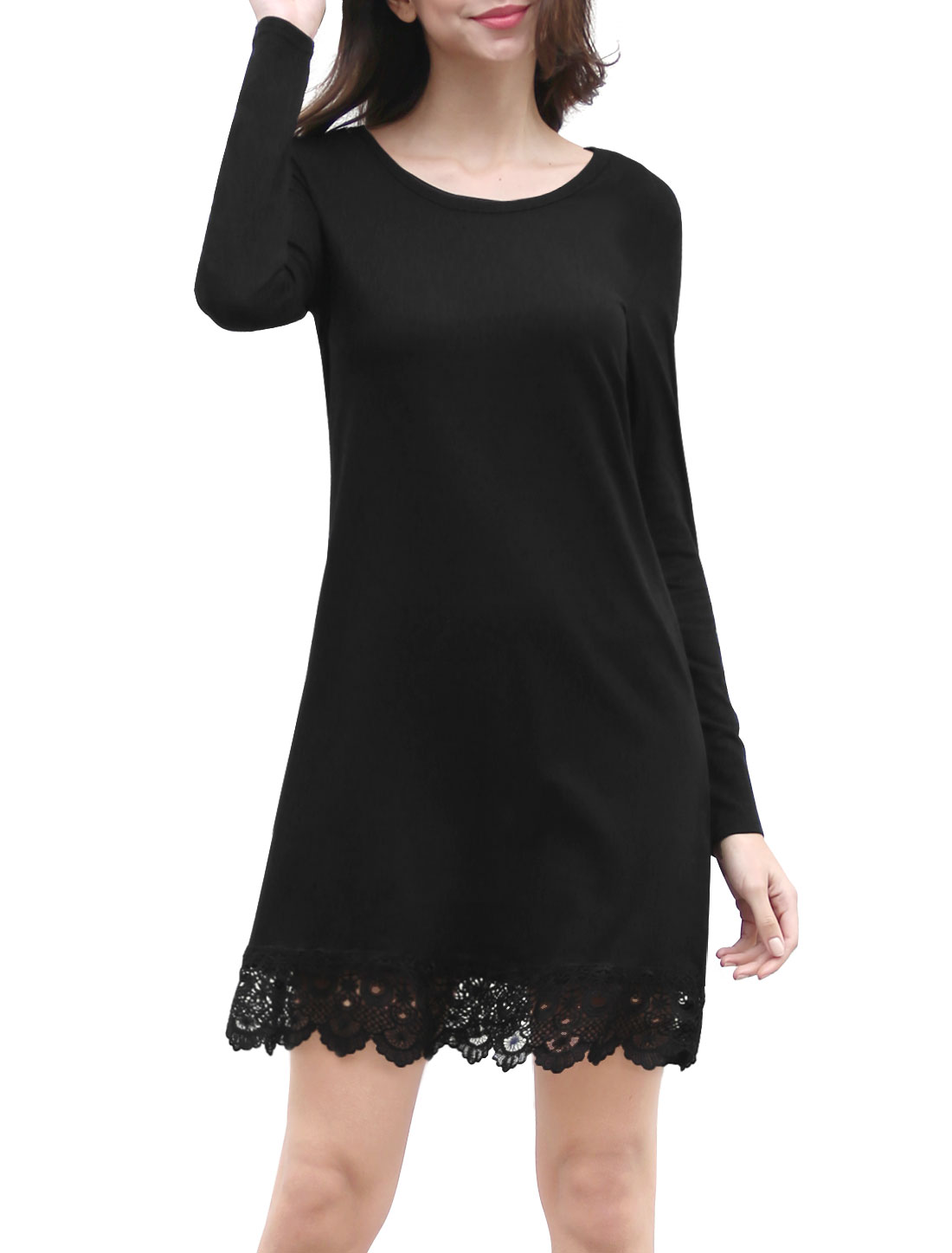 Women Long Sleeves Scalloped Crochet Hem Above Knee Dress Black L