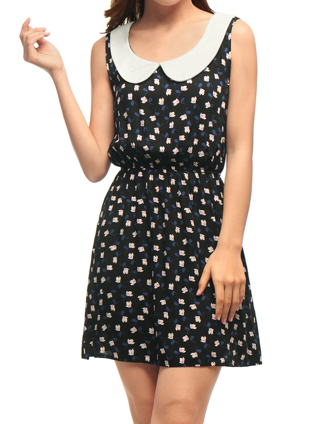 Woman Sleeveless Doll Collar Elastic Waist Flower Mini Dress Black XL