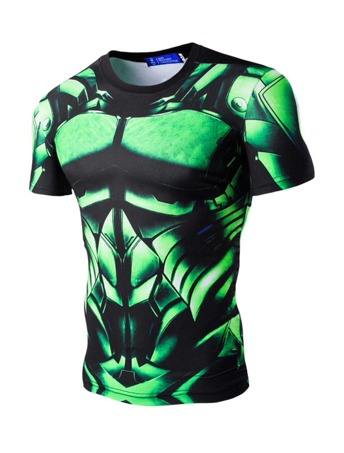 Men Short Sleeves Crew Neck Slim Fit Armor Printed T-Shirt Green M