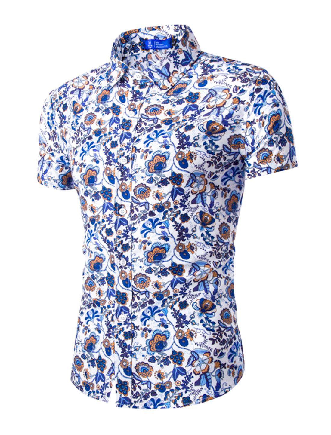 Men Point Collar Short Sleeves Floral Print Button Down Shirt Blue M