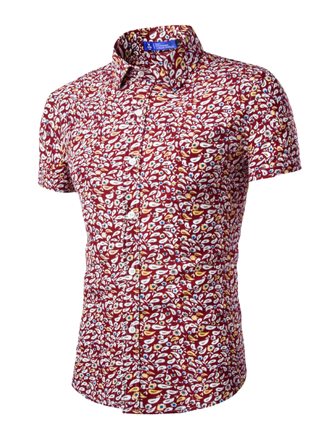 Men Short Sleeves Paisleys Floral Prints Button Down Shirt Red M