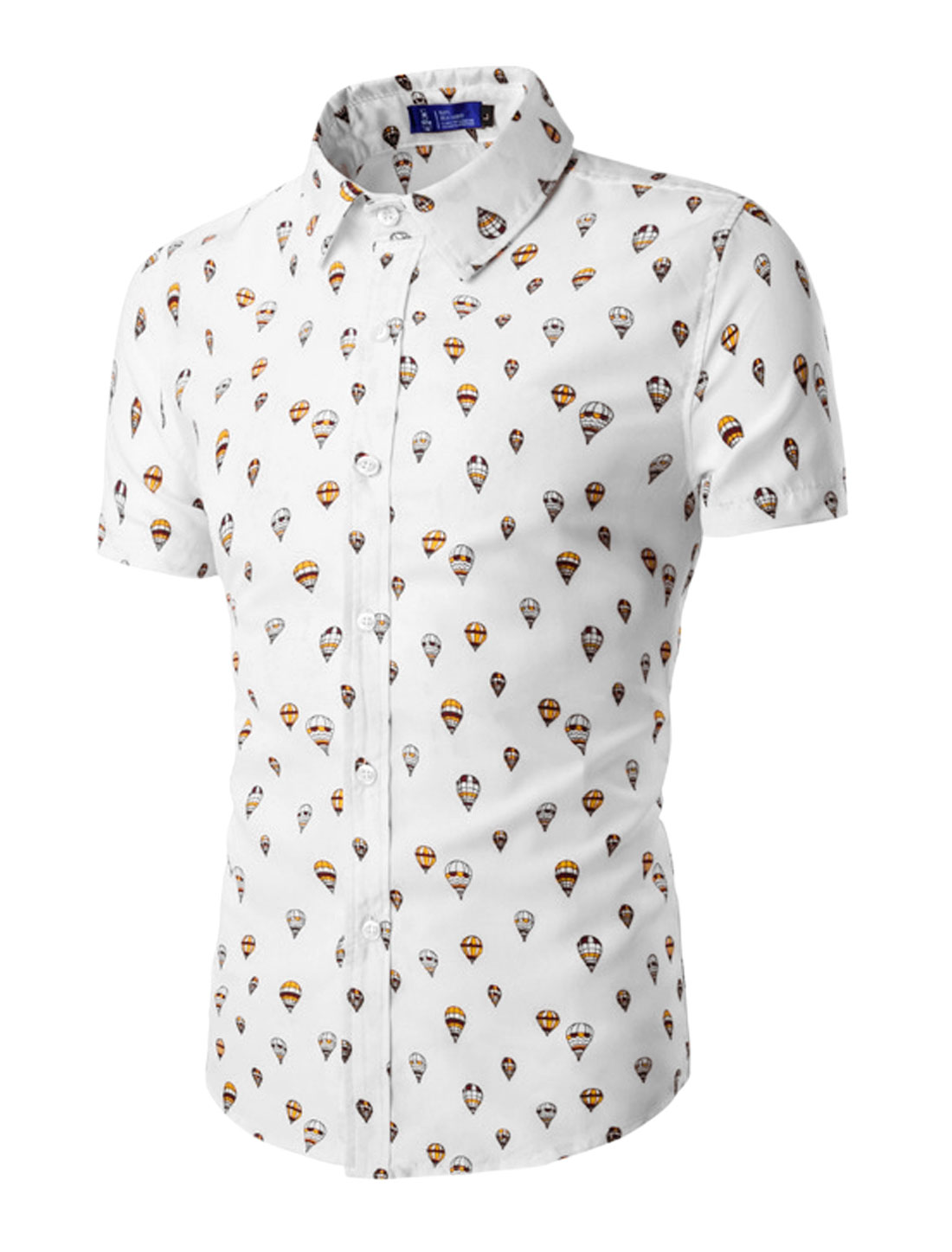 Men Short Sleeves Fire Balloon Pattern Button Down Shirt White M