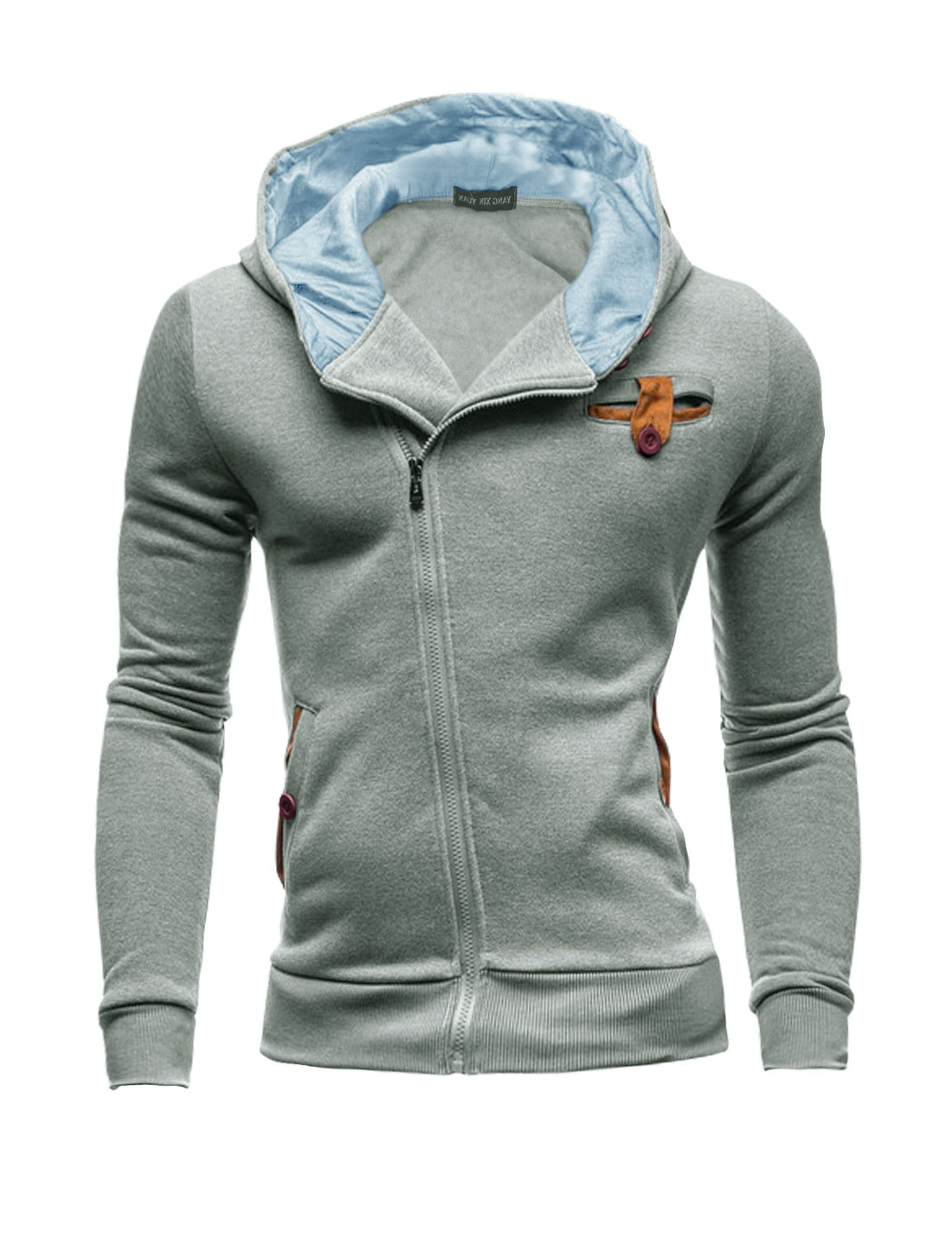 Men Full Zip Two Pockets Elbow Patch Hooded Jacket Light Gray M