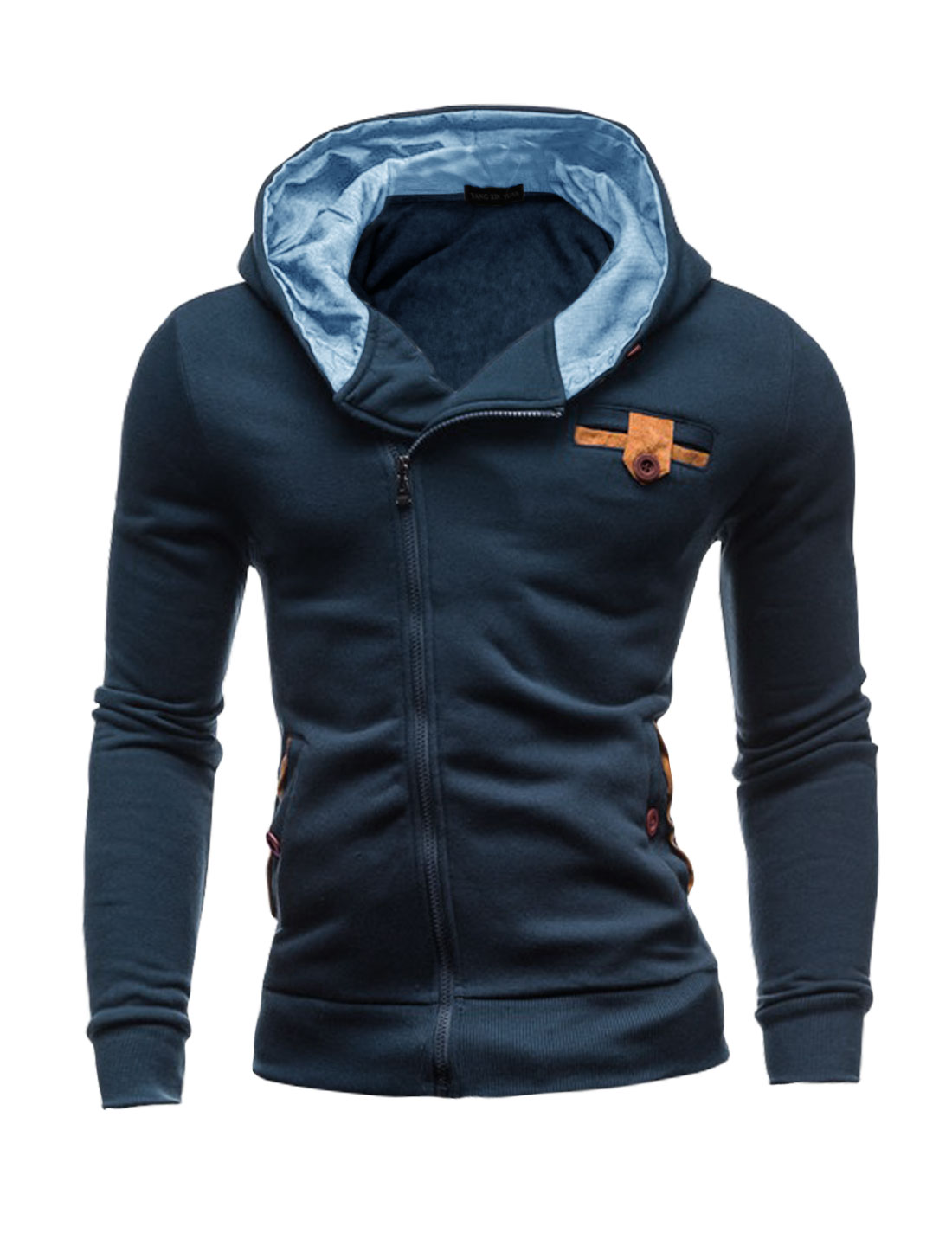 Men Full Zip Two Pockets Elbow Patch Hooded Jacket Blue M