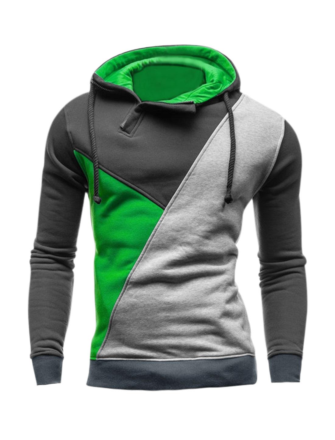 Men 1/2 Zip Long Sleeves Color Block Drawstring Hoodie Green M