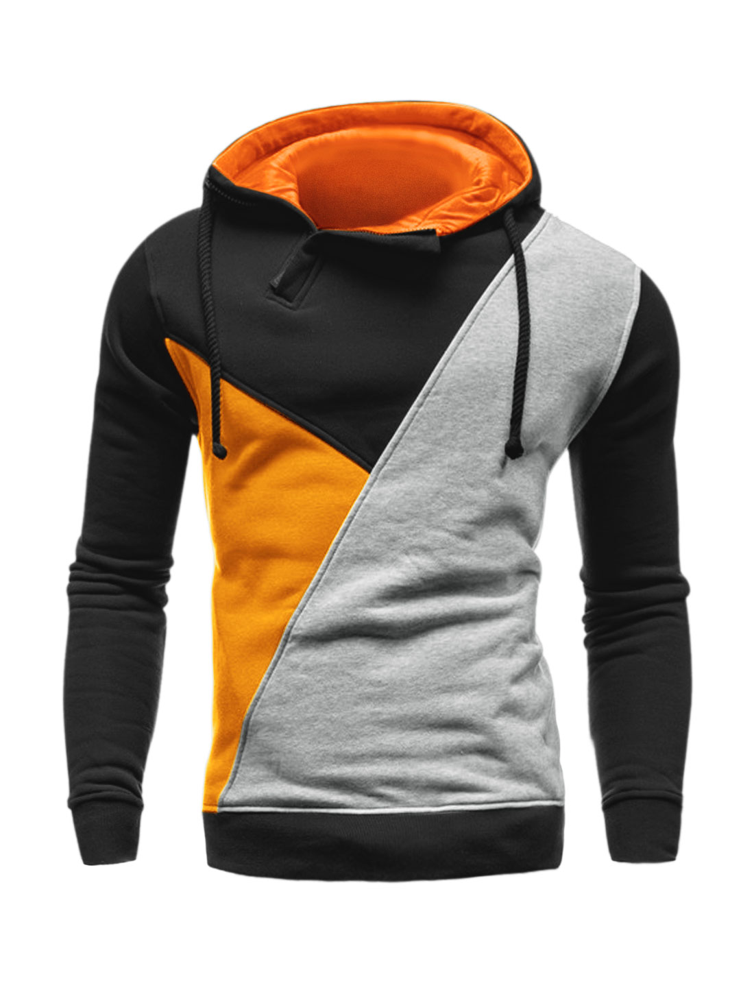 Men 1/2 Zip Long Sleeves Color Block Drawstring Hoodie Orange M