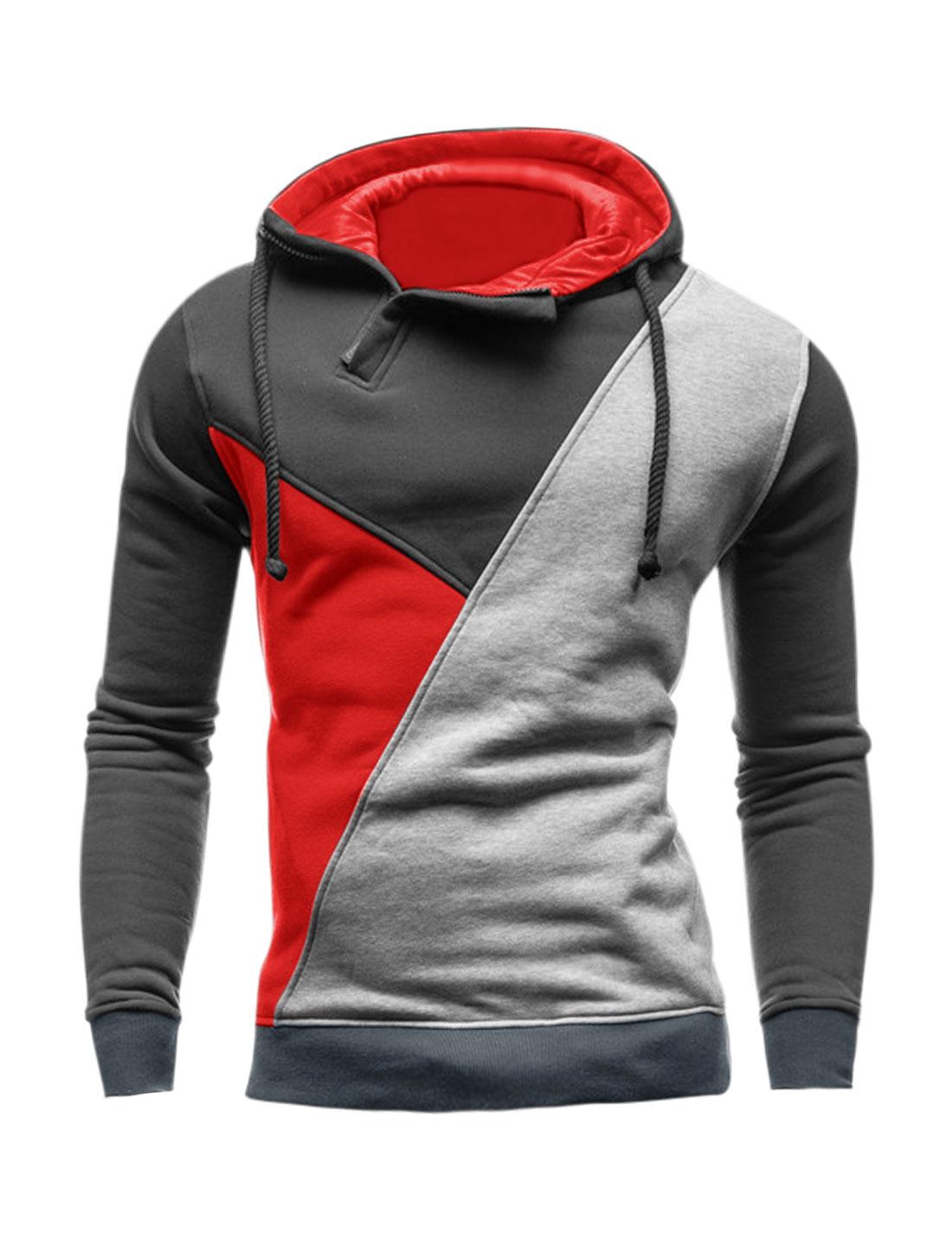 Men 1/2 Zip Long Sleeves Color Block Drawstring Hoodie Red M