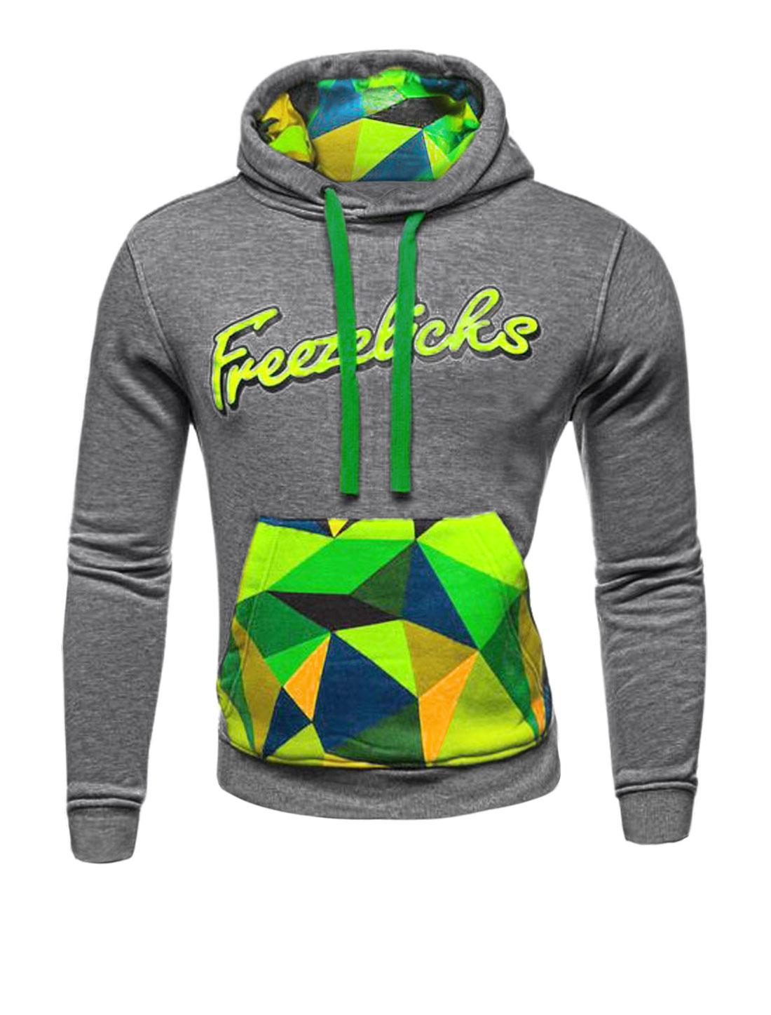 Men Letters Geometric Printed Kangaroo Pocket Hooded Sweatshirt Dark Gray M
