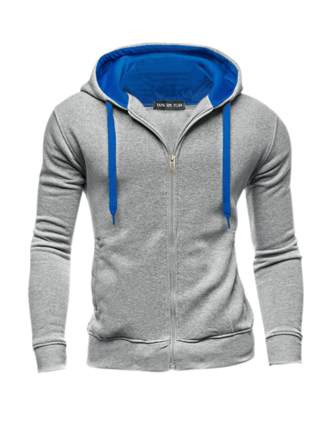 Men Slim Fit Contrast Color Zip Up Long Sleeves Hoodie Light Gray M