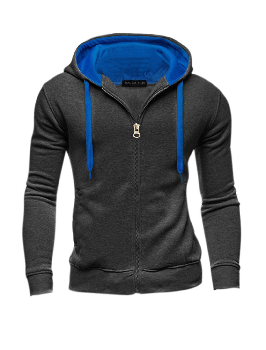 Men Slim Fit Contrast Color Zip Up Long Sleeves Hoodie Dark Gray M