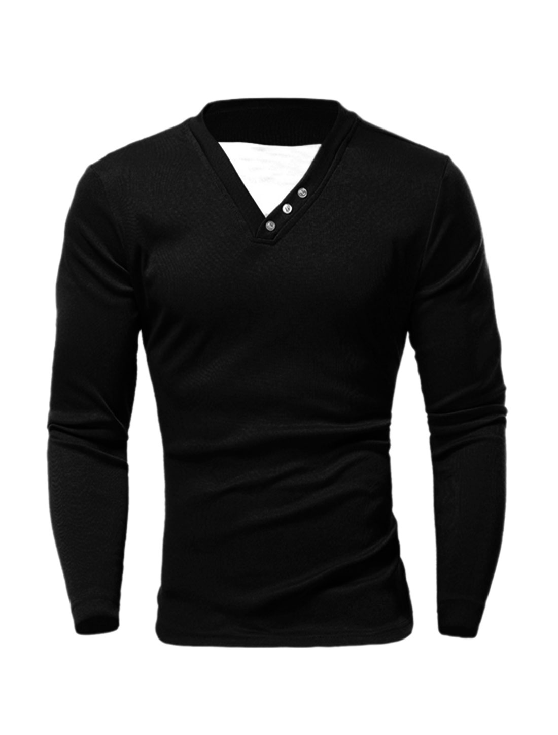 Men Crew Neck Layered Detail Contrast Color Slim Fit T-Shirt Black M
