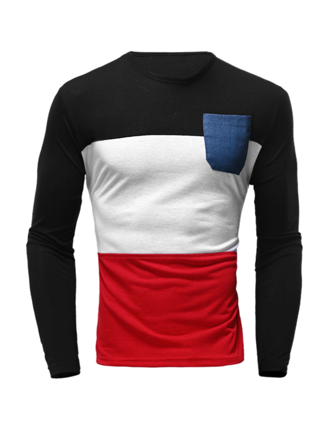 Men Long Sleeves Jean Panel Chest Pocket Color Block T-shirt Red M