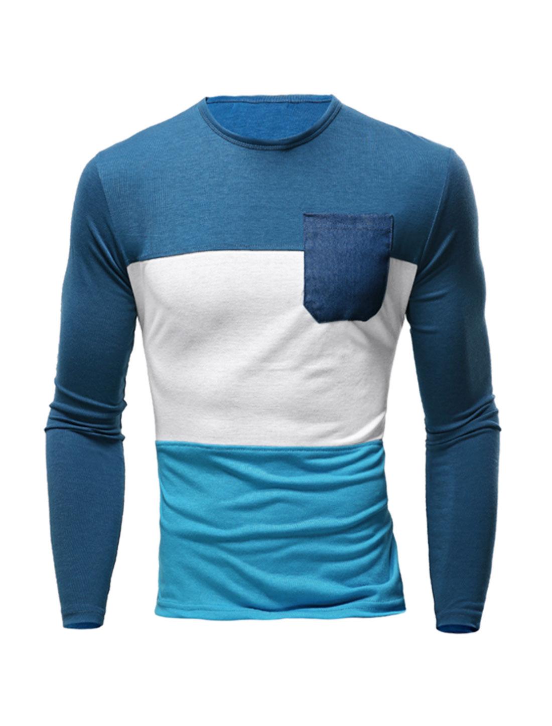 Men Long Sleeves Jean Panel Chest Pocket Color Block T-shirt Blue M
