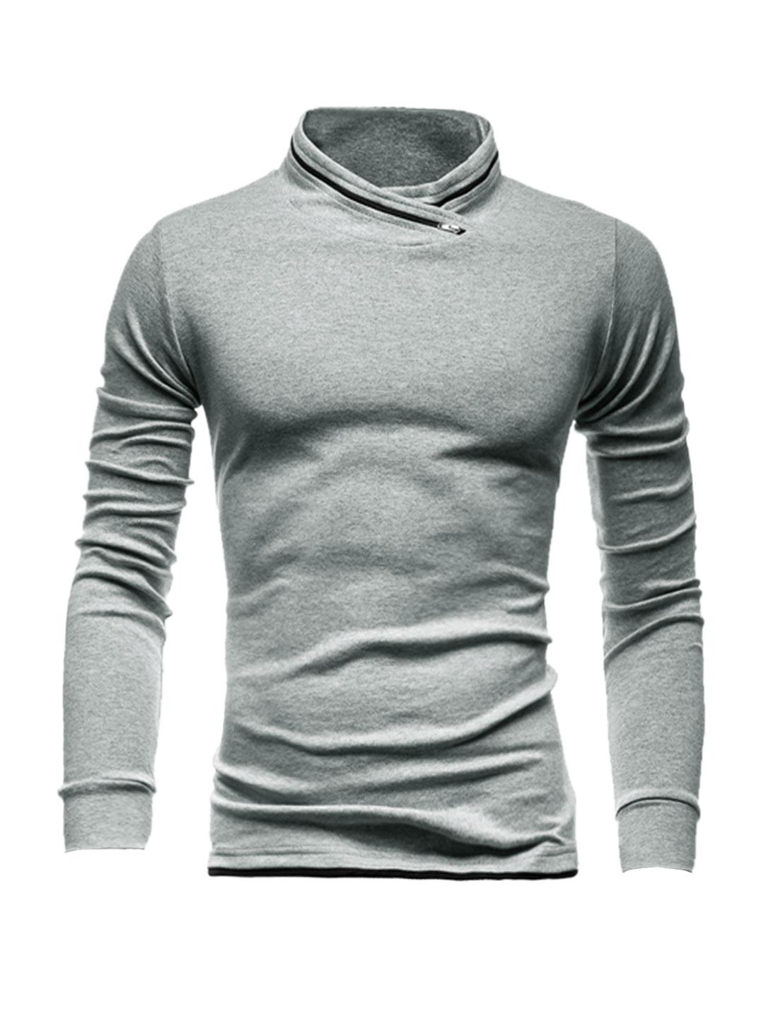 Men Zip Decor Stand Collar Long Sleeves Slim Fit T-Shirt Gray M