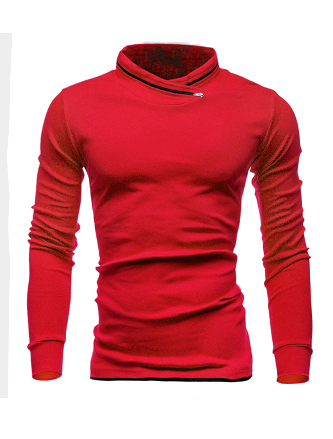 Men Zip Decor Stand Collar Long Sleeves Slim Fit T-Shirt Red M