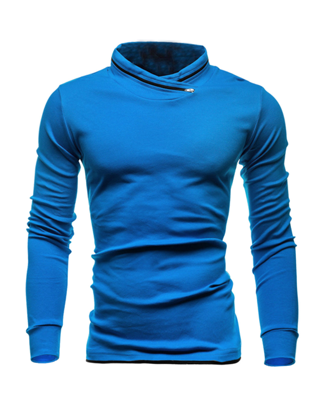Men Zip Decor Stand Collar Long Sleeves Slim Fit T-Shirt Blue M