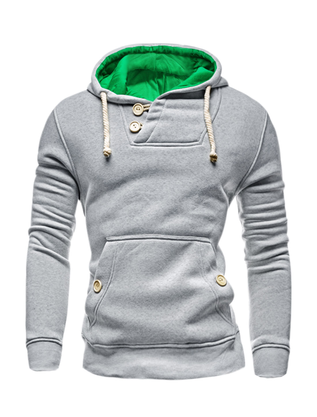 Men Button Loop Closure Kangaroo Pocket Slim Fit Hooded Sweatshirt Light Gray M