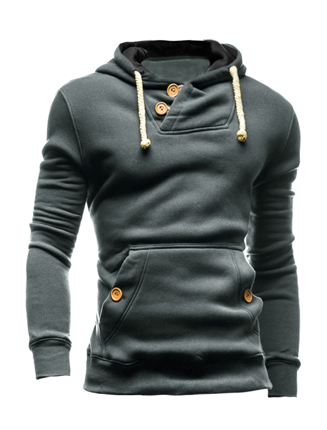 Men Button Loop Closure Kangaroo Pocket Slim Fit Hooded Sweatshirt Dark Gray M